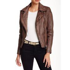 New Muubaa Patara moto leather jacket brown size 14 US 10 $595