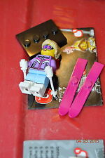 Lego Minifigure Collectible Series 8 Down Hill Girl Lady Skier #7 Mini Fig