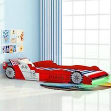 Letto con Luci LED per Bambino Auto da Corsa 90x200 cm Rosso K9E3