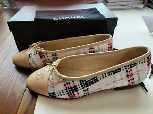 Chanel Authentic Tweed White Multi Color Size 36.5 Flats