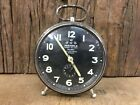 OLD VINTAGE WEHRLE 3 IN 1 SAPPHIRE JEWELED TABLE ALARM CLOCK MADE IN GERMANY