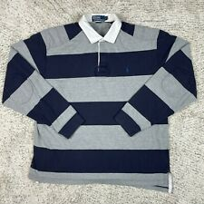New listing Polo Ralph Lauren Rugby Shirt Mens Large Stripe Elbow Shoulder Patches Vintage