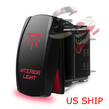 LED Waterproof Red ROCKER SWITCH LASER ETCHED 12v 20a LED INTERIOR LIGHT CAR