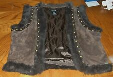 Womens Arden B Suede & Rabbit Fur Studded Vest Size L Large Mint!!