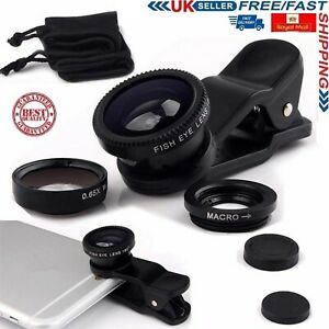 3 in 1 Mobile Camera Lens Fish Eye Wide Angle Macro Clip Set for iPhone Samsung