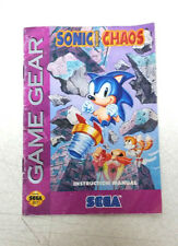 Sonic The Hedgehog Chaos Instruction Booklet Only Sega Game Gear Book Only