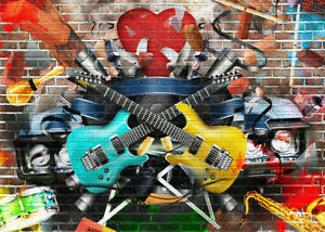 7x5ft Vinyl Graffiti Brick Wall Musical Instrument Backdrop Photo Background LB