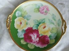 ANTIQUE HP PINK YELLOW FLORAL ROSES LIMOGES FRANCE PORCELAIN HANDLE CAKE PLATE