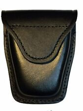 Black Leather Police Security Guard Officer Hook Loop Belt Handcuff Case Holder