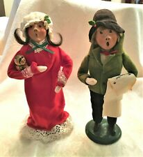 New ListingByers Choice Caroler Girl in Red Nightie with Doll & Boy with Song Sheet 1987-89