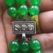"New Charming 3 Rows 6mm Emerald Green Beads Necklace 17-19 ""Crystal clasp"