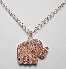 "Rose-Gold filigree elephant pendant w/ loose crystals, 17"" chain"