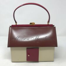 Maison Moschino Structured Ivory Brown Leather House Bag Purse Vintage