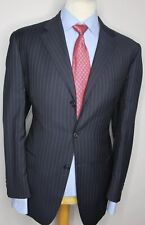 AQUASCUTUM LONDON LUXURY DESIGNER SUIT STRIPED NAVY BLUE CLASSIC FIT 42Sx36x29