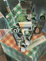 JUAN GRIS STILL LIFE WITH CHECKED TABLECLOTH OLD ART PAINTING PRINT 1764OM