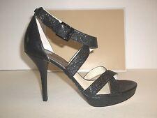 Michael Kors Size 10 M Evie Platform Black Leather Sandals New Womens Shoes