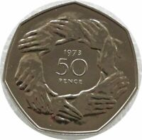 1973 Accession to the EEC Hands 50p Fifty Pence Proof Coin
