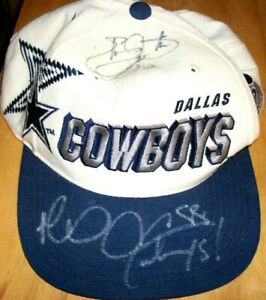 Emmitt Smith Michael Irvin Lilly autographed signed Dallas Cowboys cap hat (JSA)