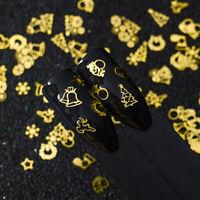 Christmas Gift Gold Metal Nail Art Sequins Snowflake Tree Star Flake Decor DIY