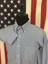 Brooks Brothers Blue & White Striped Oxford Dress Shirt men 17 2/3 non-iron 6977