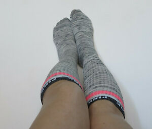 Victoria' Secret PINK Knee High Socks Pink NOWT One Size Grey Pink Band