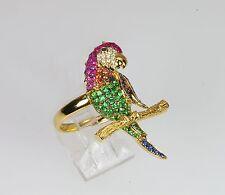 18k MULTI GEM RUBY BLUE SAPPHIRE GREEN GARNET DIAMOND BIRD PARROT MACAW RING