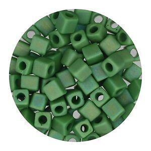 Square Glass Beads Japan 4mm Miyuki Cube Matte Light Green Ab