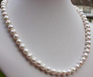 A19 50 cm Natürliche Süßwasser Perlenschmuck Halskette Perlenkette Collier Kette