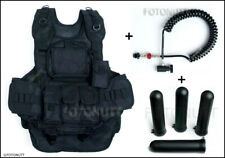 Complete WOODSBALL BLACK TACTICAL PAINTBALL VEST Package with 4 PODS & REMOTE