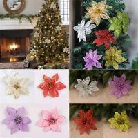 Glitter Hollow Christmas Flower Wedding Festival Party Decor Xmas Tree Ornaments