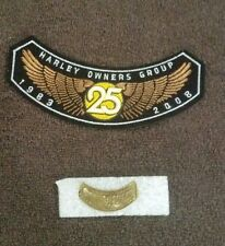 HARLEY OWNERS GROUP 25 YEARS COMMEMORATIVE PATCH 1983-2008 AND VEST PIN