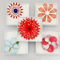 Job Lot - Collection of 5 Flower Power 1960s - Large Brooches Red Pink Blue