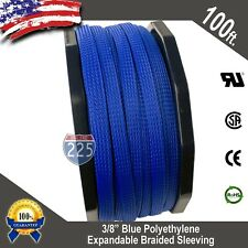"""100 FT 3/8"""" Blue Expandable Wire Cable Sleeving Sheathing Braided Loom Tubing US"""