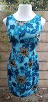 12 women HILO HATTIE hawaiian sleeveless blue brown floral TURTLE sheath dress