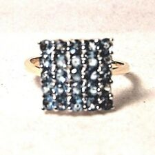 ABSOLUTELY BEAUTIFUL 10 KARAT YELLOW GOLD 1.75 CTTW BLUE TOPAZ SQUARE FIELD RING