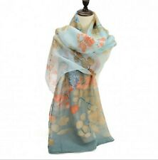 Ladies Large Scarf Flower Print Pattern Sheer Lightweight Wrap Shawl Green Blue