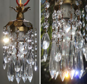 Hanging Pendant SWAG plugin  lamp Chandelier Crystal prism Brass Tole lighting