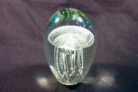 """Hand made 4.5"""" Glass  Jellyfish Paperweight Glow in the Dark ,Beautiful art"""