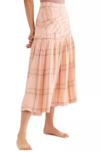 FREE PEOPLE NEW NWT MSRP$128 Plaid Fever Drop-Hem Midi Skirt Soft Peach XS 0 2 4