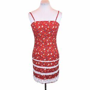 Vintage 90s Y2K Sz M Floral square neck mini dress ditzy floral cottagecore