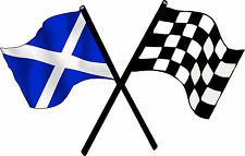 Motorsport Exterior Vinyl Decal Scotland Checkered Cross Flags Scottish Stickers