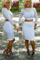 Women Sexy 2 Piece Bodycon Crop Top and Skirt Set Casual Long Sleeve Dress Party