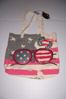 LOUNGEFLY HELLO KITTY WOMEN'S CANVAS TOTE BAG WITH GLASSES & BOW NWT!