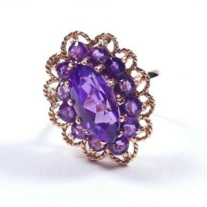 Ring 9 carat yellow gold size Amethyst vintage cluster size N 4.6g