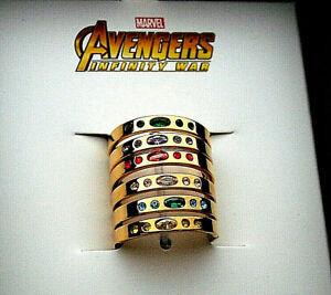 Marvel Comics Avengers Infinity War Thanos Stones 6 Ring Set New NOS Box Women's