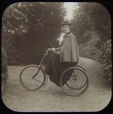 RARE Glass Magic Lantern Slide VICTORIAN LADY ON TRICYCLE C1890 PHOTO