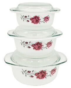 3Pcs Glass Casserole Dish Opal Glass Serving Dish Bowls with Glass Lids Pink New
