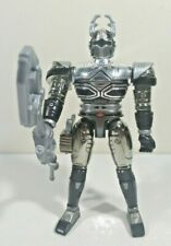 """Big Bad Beetleborgs Metallix Titanium Silver Beetleborg 5"""" Figure Complete"""