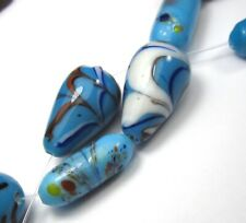 """9"""" STRAND OF 12 BEAUTIFUL BABY BLUE FEATHER/MILLEFIORI VINTAGE GLASS BEADS"""