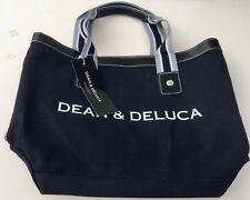 DEAN & DELUCA Small Signature BLACK Tote HANDBAG - Black & White Striped LINING